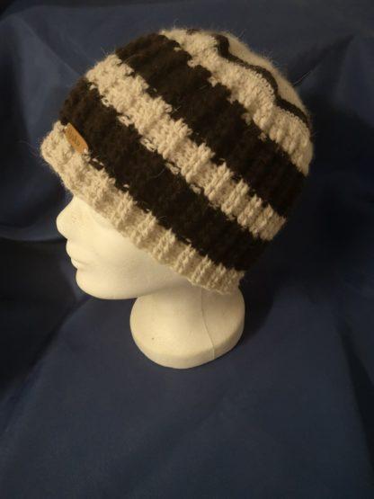 Mütze schwarz-weiß 100 % Alpakawolle