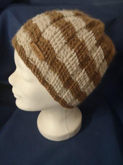 Mütze hellbraun-beige 100 % Alpakawolle