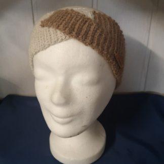 Stirnband hellbraun-offwhite 100 % Alpakawolle